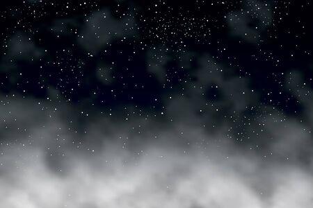 Illustration vectorielle modifiable d'étoiles dans le ciel nocturne au-dessus des nuages ??fait avec un filet de dégradé