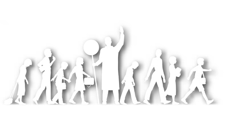 Editable vector cutout silhouettes of school children crossing a road with background shadow made using a gradient mesh