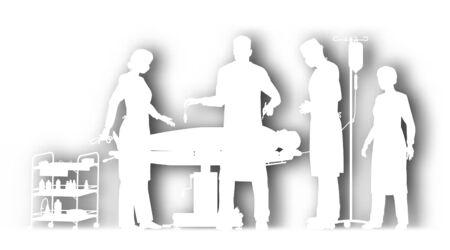 Bewerkbare vector cutout illustratie van de operatie in een operatiekamer met achtergrond schaduw gemaakt met behulp van een verloopnet