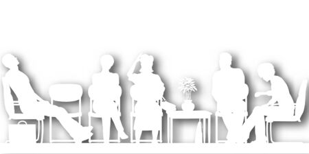 Editable vector cutout silhouettes of people sitting in a waiting room with background shadow made using a gradient mesh