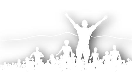 Découpe vectoriel éditable d'un homme de gagner une course avec l'ombre de fond fait en utilisant un filet de dégradé Banque d'images - 9856008