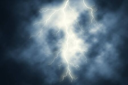 Editable vector illustration of a lightning bolt at night with background sky made using gradient meshes