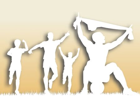 Editable vector cutout of a soccer player celebrating a goal plus team-mates with background made using a gradient mesh 向量圖像