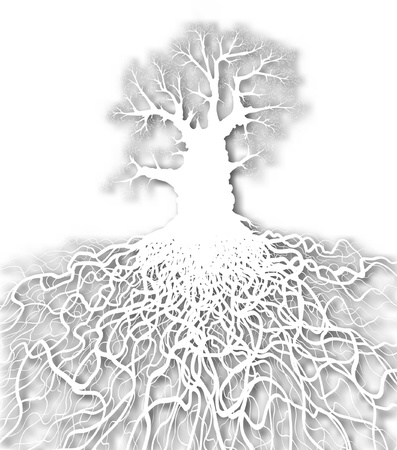 Editable vector cutout of a leafless oak tree plus root system with background made using a gradient mesh