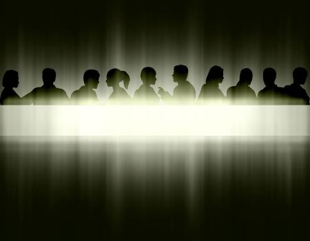 Bewerkbare eps10 vectorillustratie van mensen hoofd silhouetten en tekstbanner