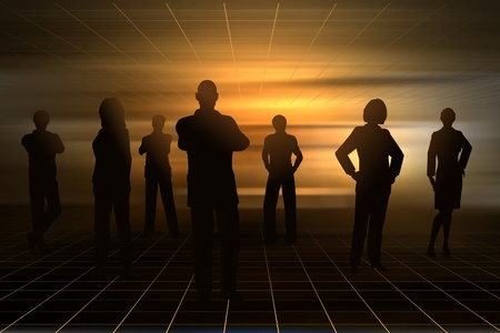 Editable silhouettes of business people with background made using a gradient mesh 向量圖像