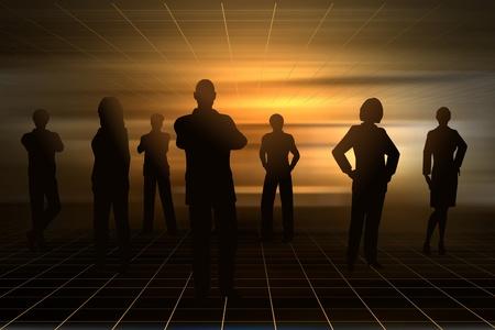 Silhouettes modifiables de gens d'affaires avec un fond fait en utilisant un filet de dégradé Banque d'images - 10196187