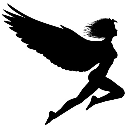 silhouette of a woman with wings flying
