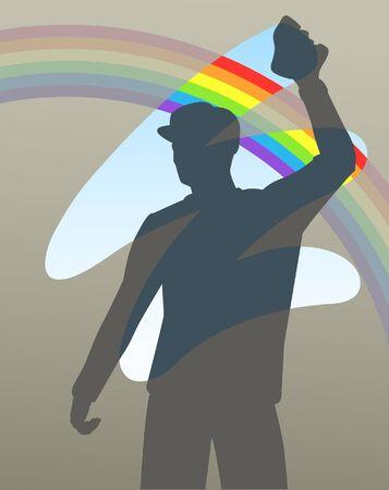 uomo delle pulizie di una finestra per rivelare un arcobaleno