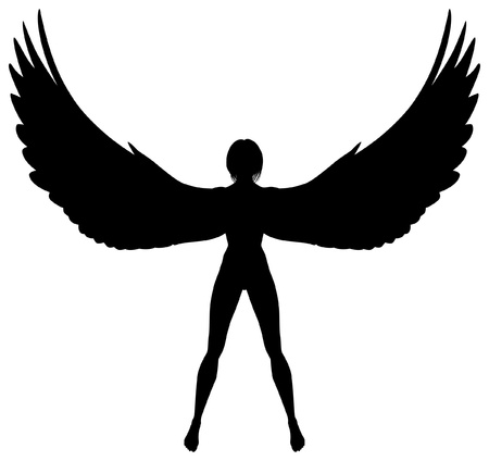 Editable silhouette of a woman or angel with wings Stock Illustratie