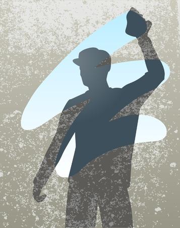 sagoma di un uomo delle pulizie di una finestra
