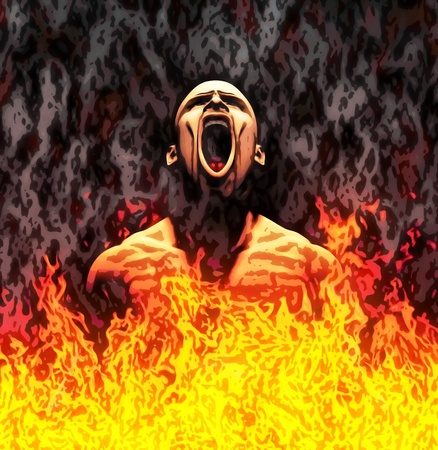 Painted illustration of a screaming man in flames