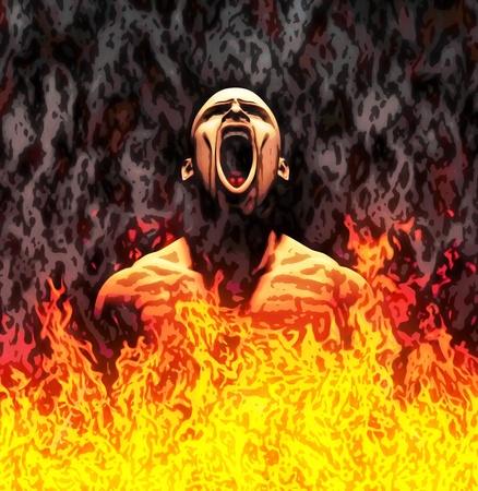 Illustration peinte d'un homme criant dans les flammes Banque d'images - 10751370