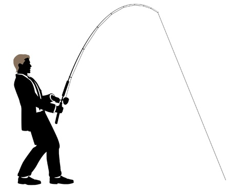 Editable illustration of a businessman fishing 版權商用圖片 - 11109573