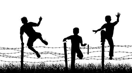 Editable vecteur silhouettes de trois garçons sautent par-dessus une clôture de barbelés avec des garçons, d'une clôture et de l'herbe comme des objets distincts