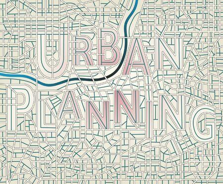 Editierbare Vektorkarte eines generischen Stadt mit den Straßen Schreibweise der Worte Standard-Bild - 11142043