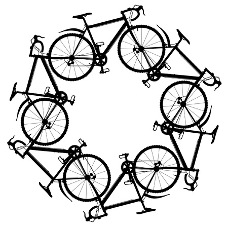 Editable illustration of six generic bicycle silhouettes joined in a hexagonal ring Stock Illustratie