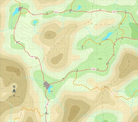Editable illustration of a generic map showing relief contours