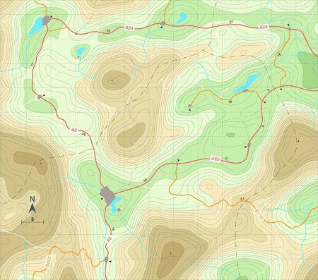 Illustration modifiable d'une carte générique montrant des courbes de secours Banque d'images - 11268373