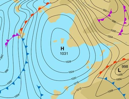 illustratie van een generieke weerkaart toont een hogedrukgebied
