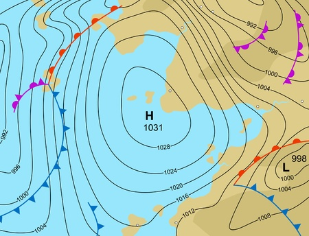 illustration of a generic weather map showing a high pressure system 向量圖像