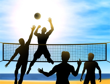 silhouettes of four men playing beach volleyball  向量圖像