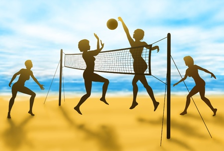 silhouettes of women playing beach volleyball  向量圖像