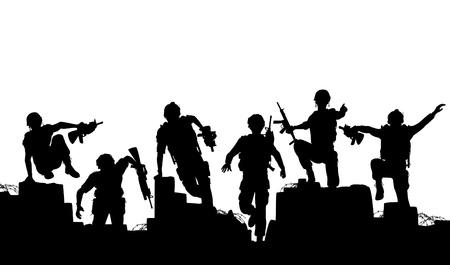siluetas de soldados armados de carga hacia adelante Ilustración de vector
