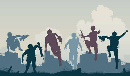 silhouettes of armed soldiers charging forward