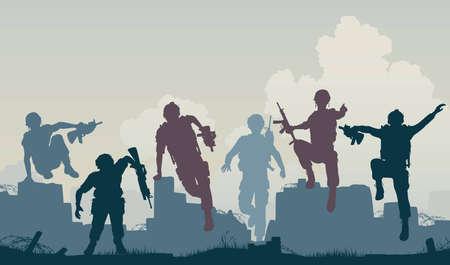 silhouettes of armed soldiers charging forward 版權商用圖片 - 11429662