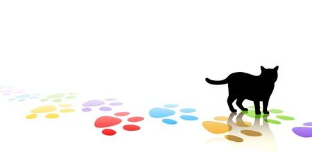 Illustration vectorielle modifiable d'une silhouette de chat et de la patte colorée imprime avec un espace pour le texte Banque d'images - 12151446