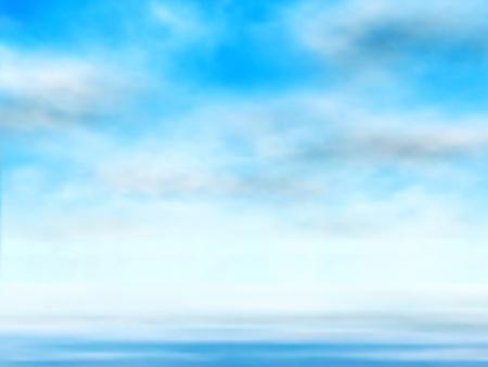 Editable ilustración vectorial de las nubes en un cielo azul sobre el agua hecha con una malla de degradado