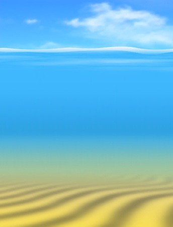 Editable vector underwater background made using gradient meshes with sky and water as separate objects