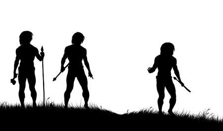 Editable silhouettes of three cavemen hunters with spears tracking animals