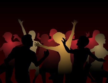Silhouettes modifiables de gens qui dansent dans une discothèque Banque d'images - 14125005