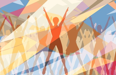 Colorful editable illustration of women doing aerobic dance exercise together
