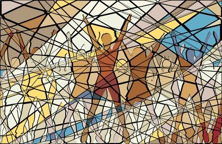 Editable mosaic illustration of women doing aerobic dance exercise together