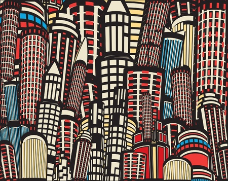 Colorful editable illustration of tall city buildings