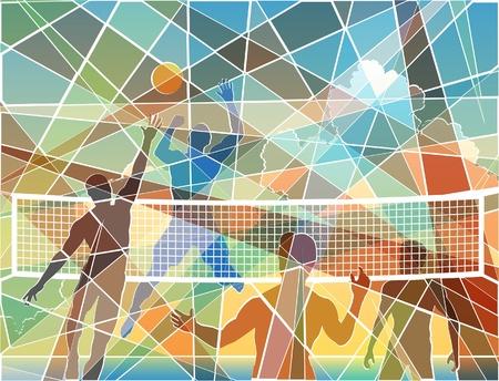 Editable colorful batik mosaic design of four men playing beach volleyball Stock Illustratie