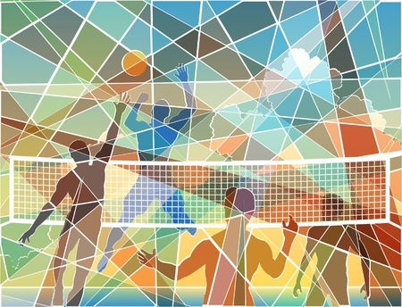 Editable colorful batik mosaic design of four men playing beach volleyball Ilustrace