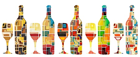 Abstract mosaic editable designs of wine bottles and glasses