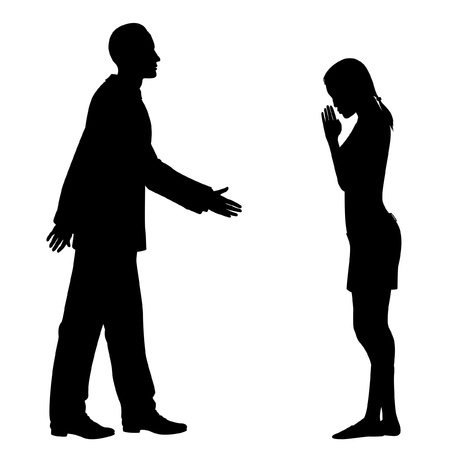 Editable silhouettes of the culture clash as a western man and an east asian woman greet each other Stock Illustratie