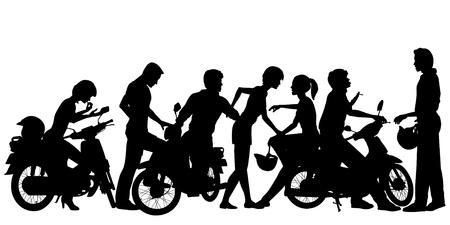 Modificabile sagome vettoriali di una banda di motociclisti giovane con tutte le persone e scooter come oggetti separati