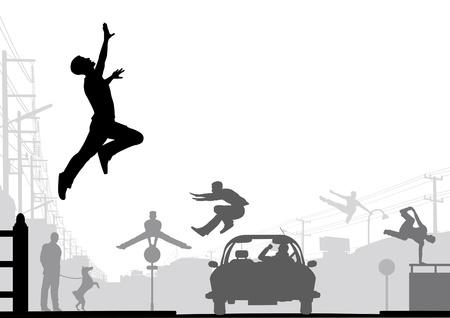 Editable vector silhouettes of men doing parkour in an urban street scene 版權商用圖片 - 14736832