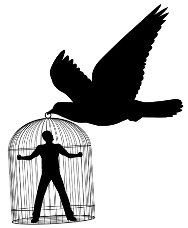 Editable silhouette of a pigeon or dove carrying a man in a cage