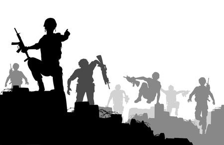 Editable silhouettes of armed soldiers charging forward with each man as a separate object Stock Illustratie