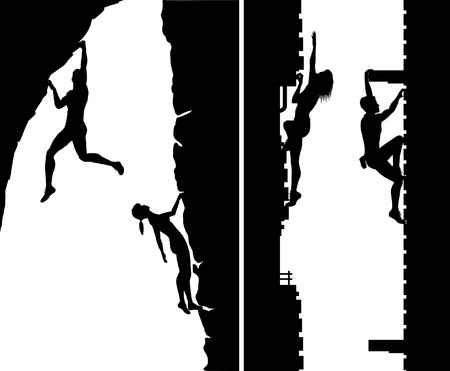 Set of editable silhouettes of free climbers not using safety ropes, with climbers as separate objects