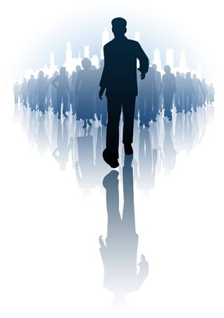 illustration of a businessman walking infront of a crowd of people Stock Vector - 14990065
