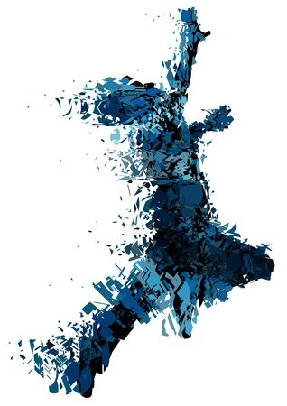 Editable vector illustration of a running man shattered into small pieces