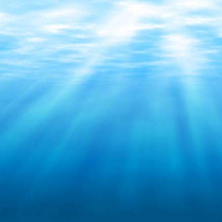 Editable vector illustratie van zonlicht filteren onder water gemaakt met behulp van een gradiënt maas